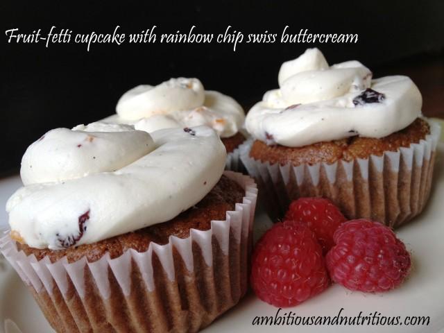 Fruit-fetti cupcake with rainbow chip swiss buttercream